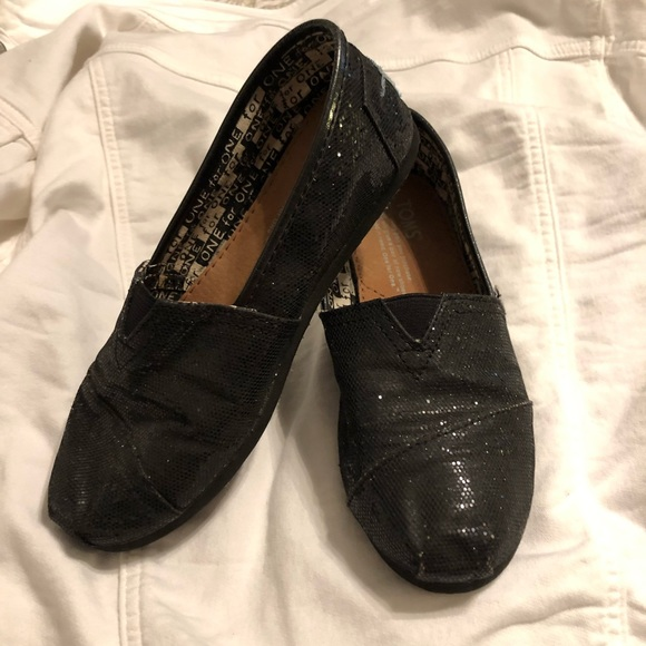 Toms Other - Girls Youth Black Glitter Toms